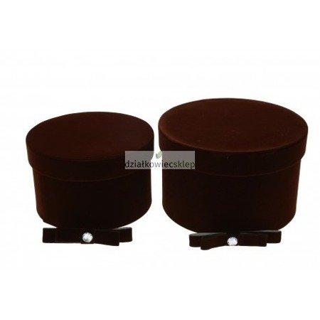 Komplet pudełek ozdobnych welurowych - 2 szt. (brązowe)