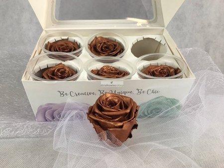 Róże wieczne (brąz metalik) 5,5 cm
